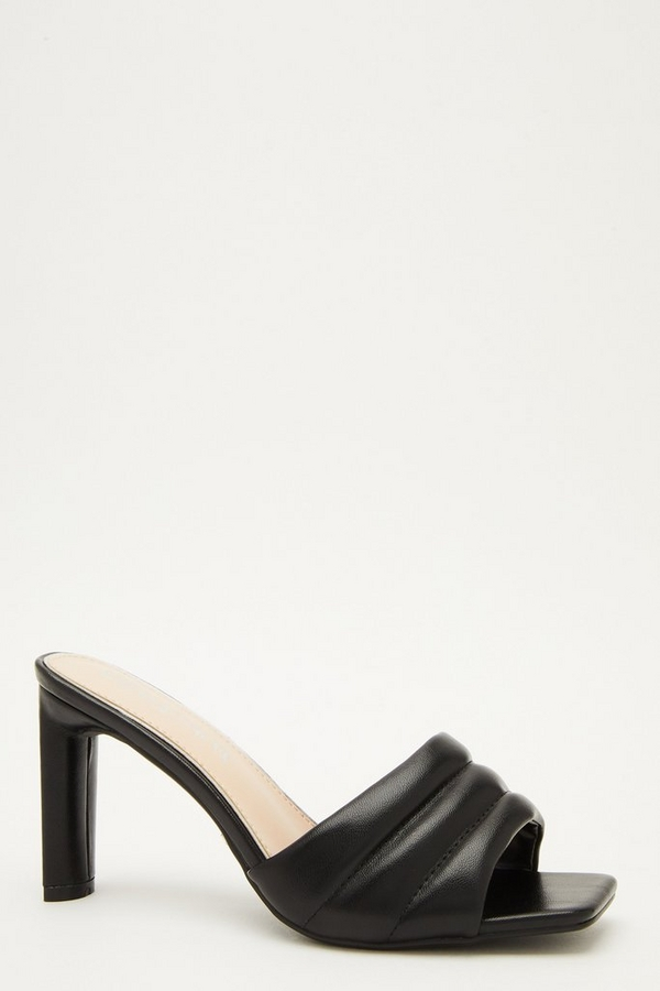 Wide Fit Black Heeled Mule Sandal
