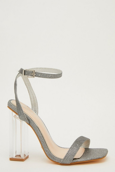 Silver Glitter Clear Heel Sandals