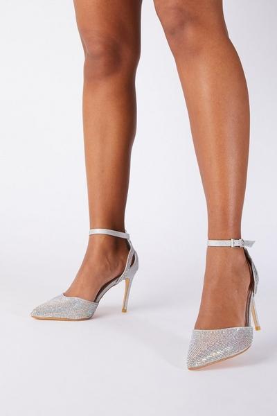 Silver Shimmer Court Heel