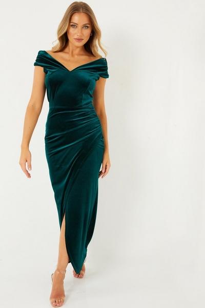 Green Velvet Bardot Maxi Dress