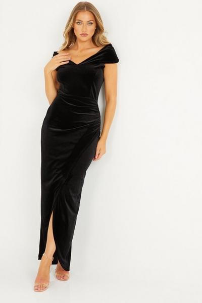 Black Velvet Bardot Maxi Dress