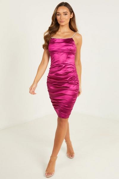 Pink Satin Bodycon Midi Dress