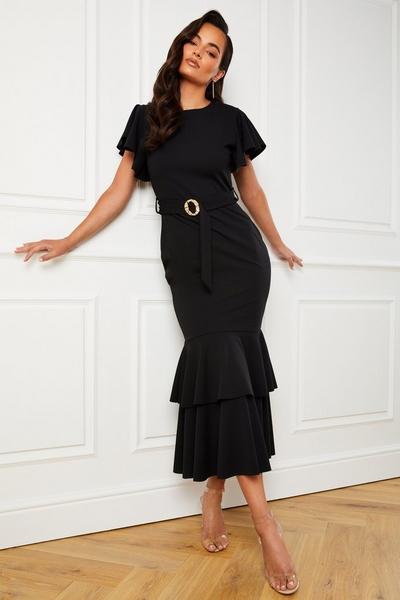 Black Frill Hem Maxi Dress
