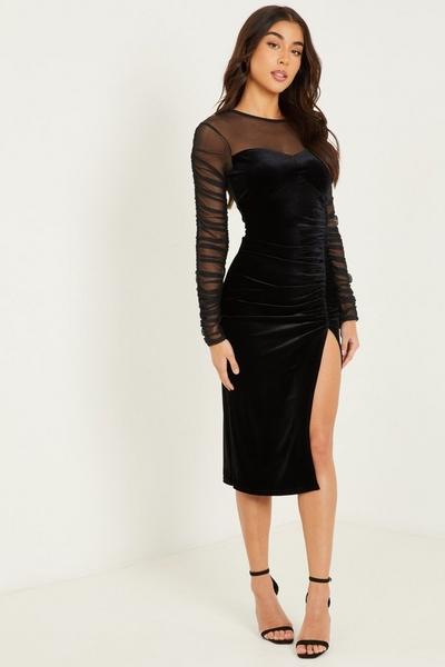 Black Velvet Long Sleeve Midi Dress