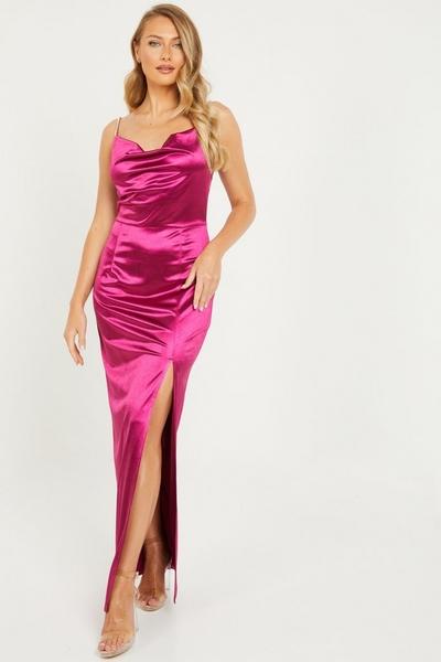 Pink Satin Cowl Neck Maxi Dress
