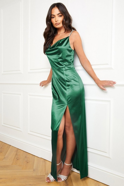 Green Satin Cowl Neck Maxi Dress