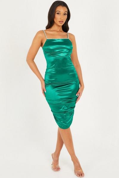 Green Satin Bodycon Midi Dress