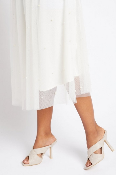 Nude Quilted Heeled Mule Sandal