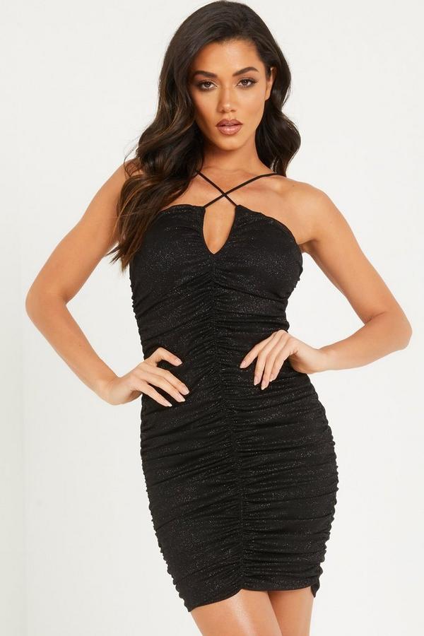 Black Glitter Mesh Bodycon Dress