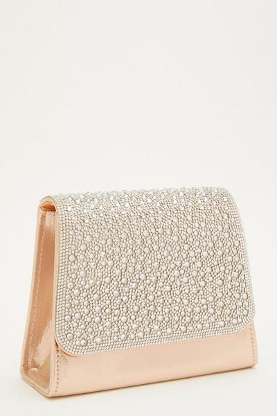 Gold Shimmer Diamante Front Bag