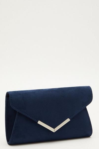 Navy Faux Suede Envelope Bag