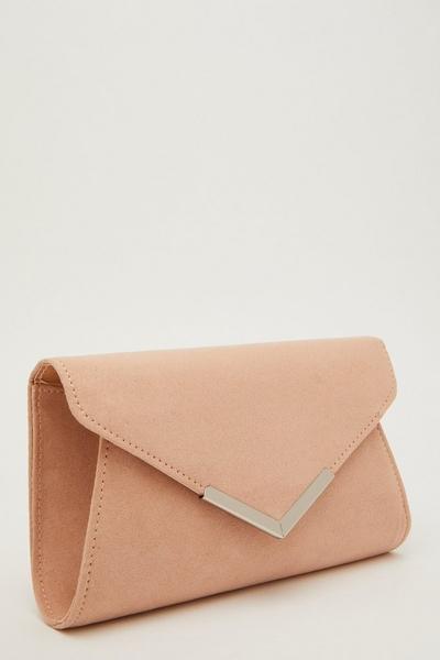 Pink Faux Suede Envelope Bag