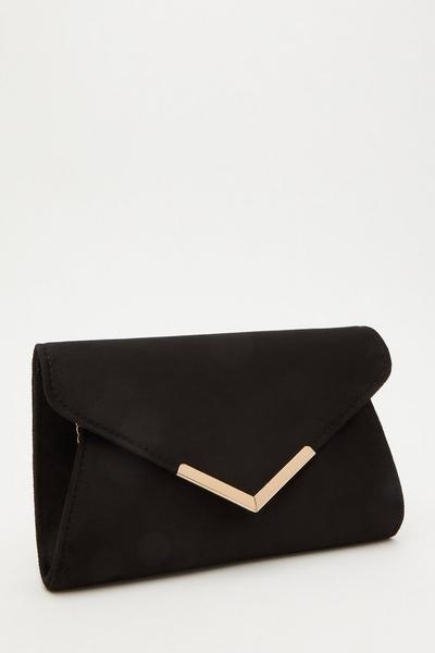 Black Faux Suede Envelope Bag