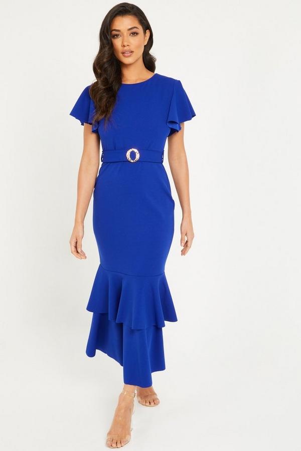 Royal Blue Frill Hem Maxi Dress