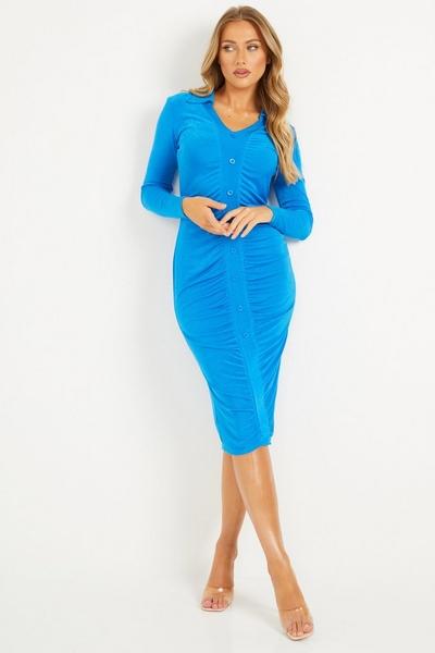 Blue Ruched Bodycon Midi Dress