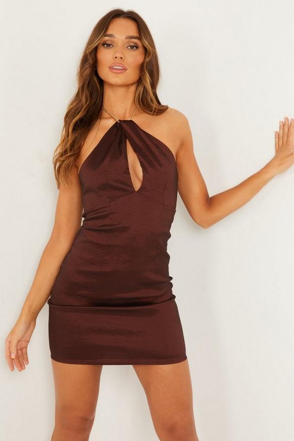 Brown Chain Halterneck Dress