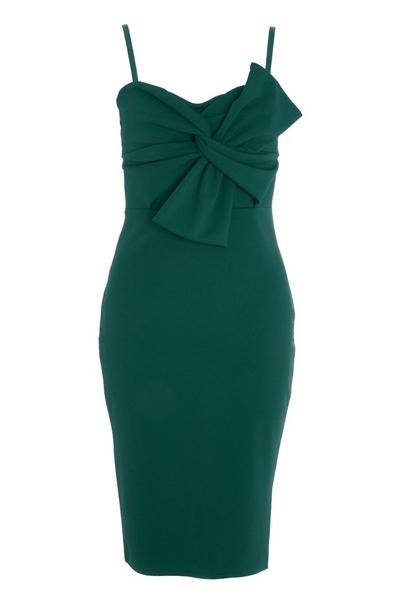 Green Bow Front Midi Dress