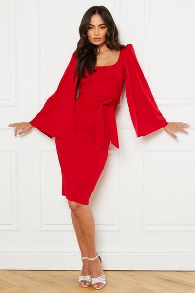 Red Cape Sleeve Tie Belt Midi Dress