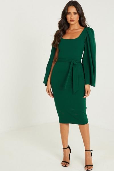 Green Cape Sleeve Tie Belt Midi Dress