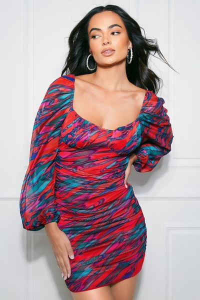 Red Mesh Marble Print Bodycon Dress