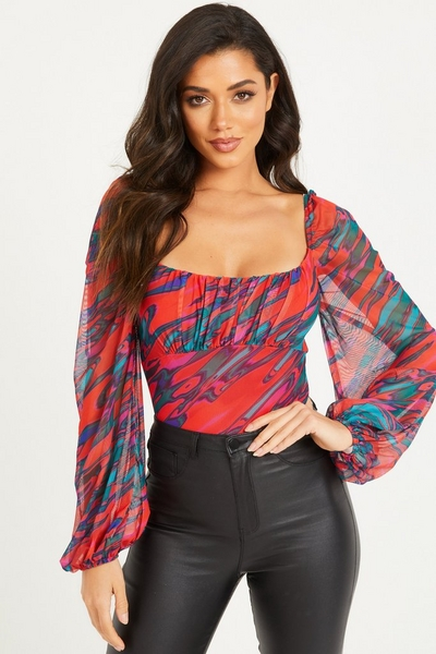 Red Marble Print Long Sleeve Bodysuit