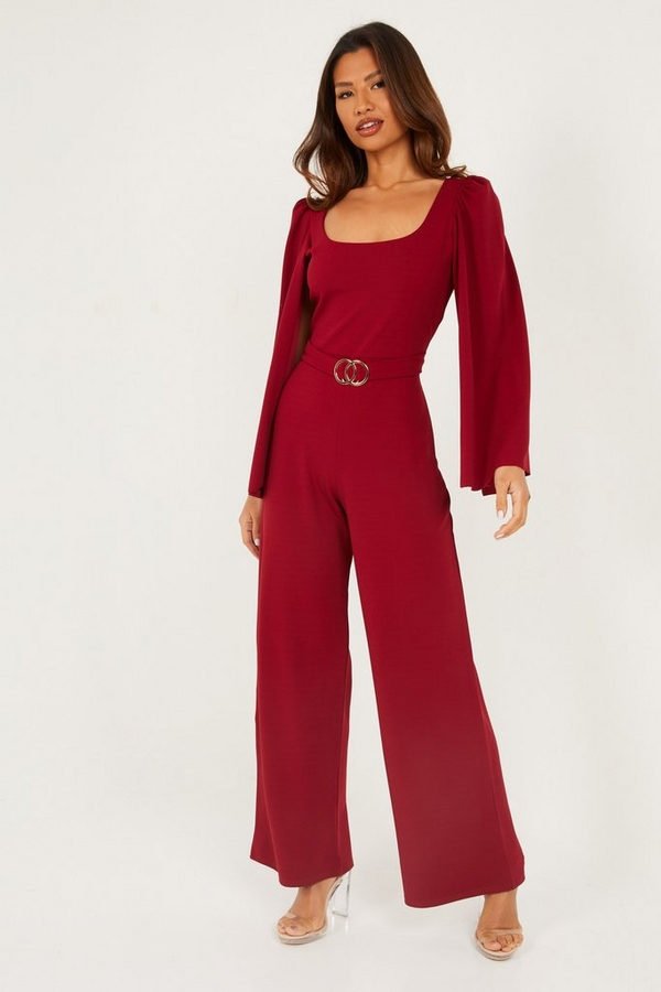 Berry Cape Sleeve Palazzo Jumpsuit