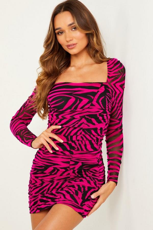 Pink Zebra Print Puff Sleeve Dress