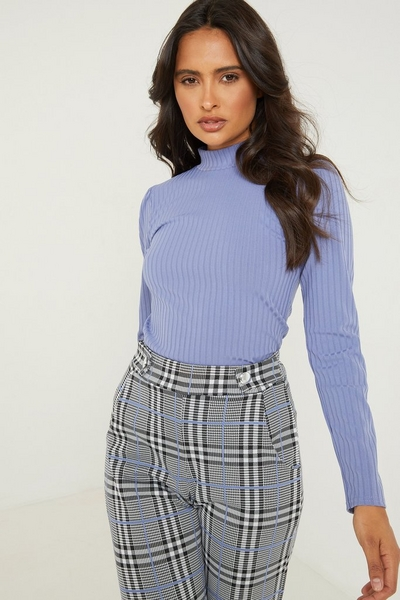 Blue Ribbed High Neck Top