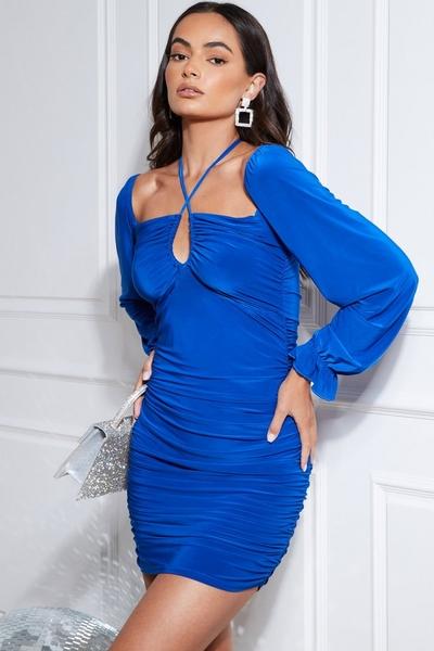 Blue Long Sleeve Ruched Mini Dress
