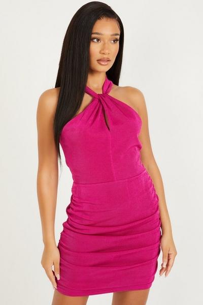 Pink Halterneck Mini Dress