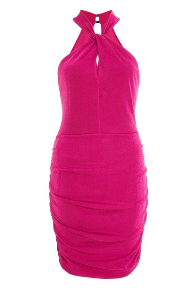 Hot Pink Halterneck Mini Dress