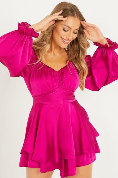 Pink Satin Bardot Playsuit