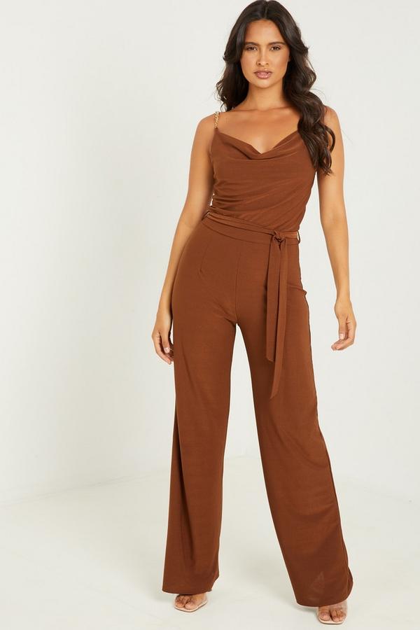 Brown Wrap Wide Leg Jumpsuit