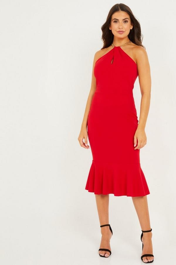 Petite Red Frill Hem Midi Dress