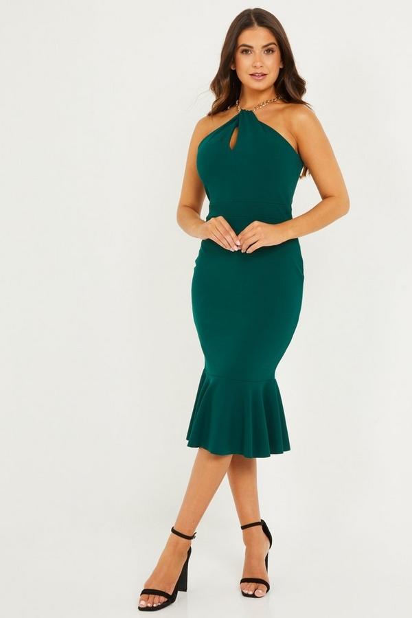 Petite Green Frill Hem Midi Dress