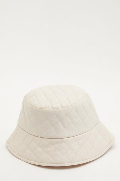 Cream Quilted Bucket Hat