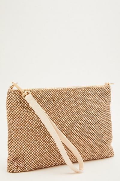 Rose Gold Diamante Flat Clutch Bag