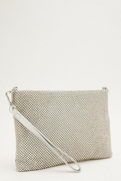 Silver Diamante Flat Clutch Bag