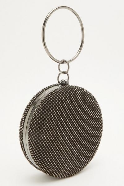 Black Diamante Round Flat Bag