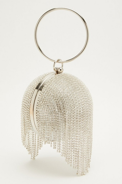 Silver Diamante Tassel Sphere Bag