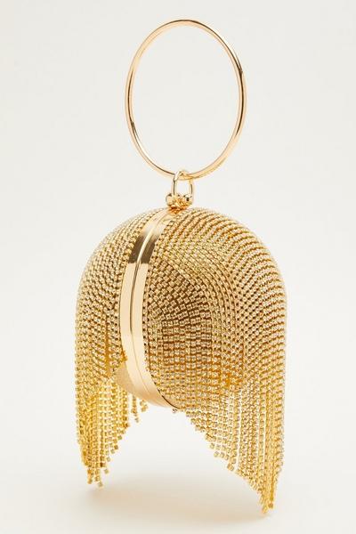 Gold Diamante Tassel Sphere Bag