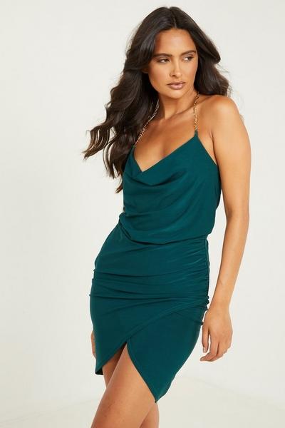Green Cowl Neck Dress