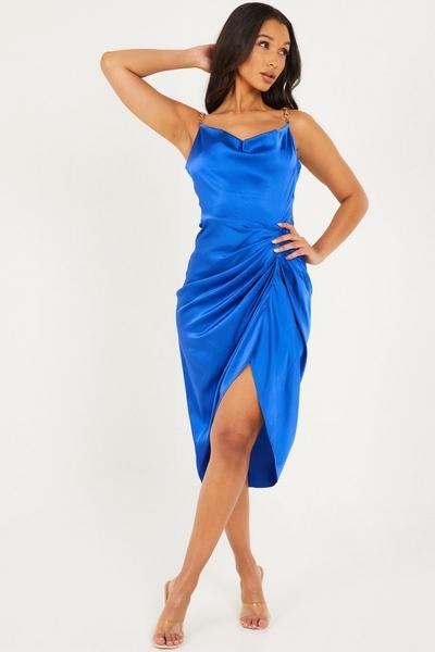 Blue Satin Chain Midi Dress