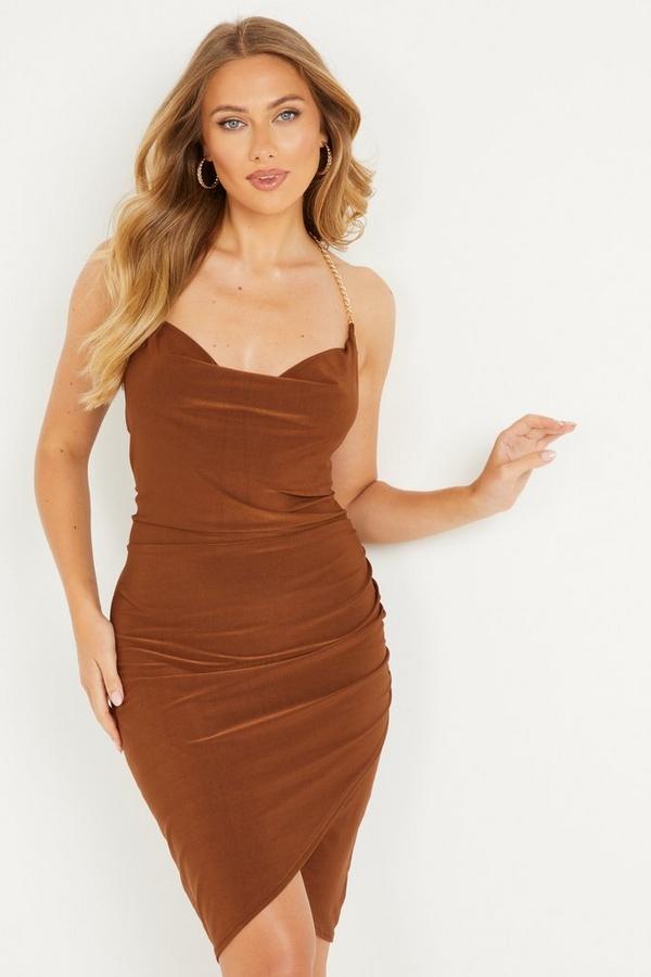 Brown Cowl Neck Dress