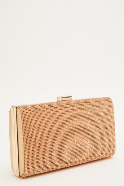 Rose Gold Diamante Box Bag