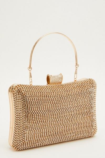 Gold Diamante Box Bag