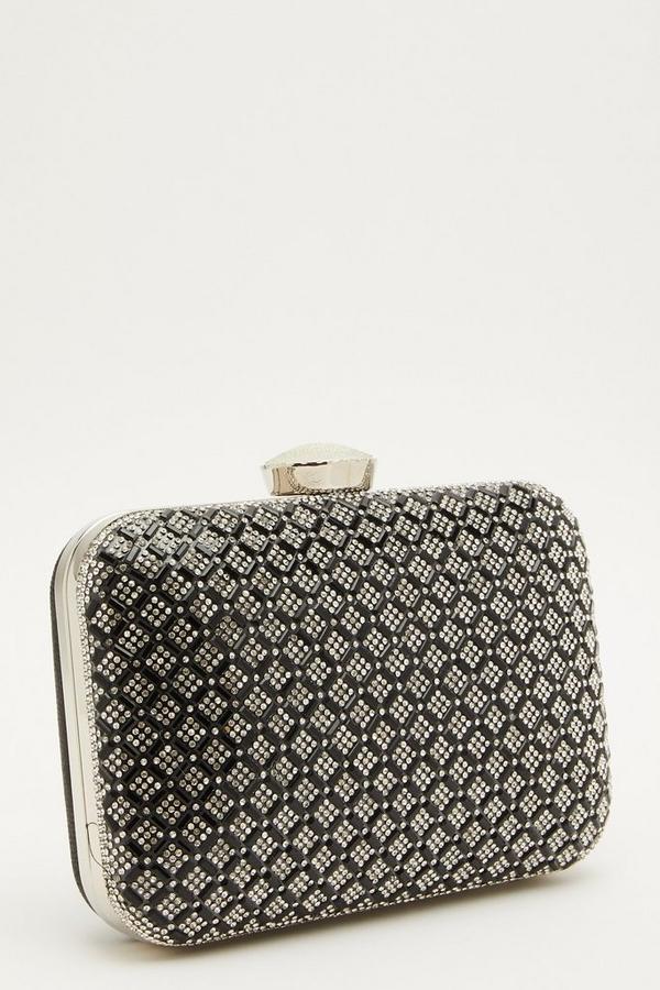 Black Embellished Box Bag