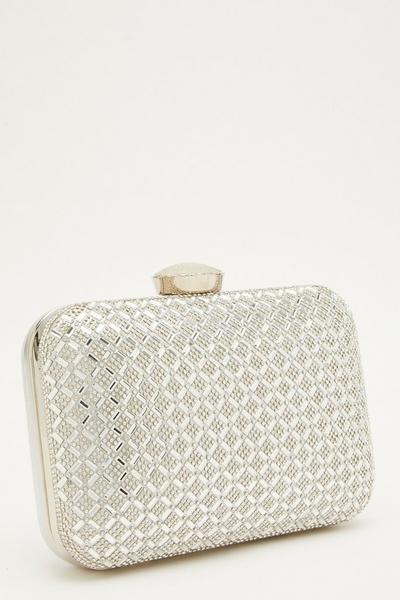 Silver Embellished Box Bag