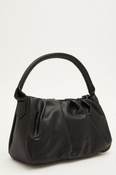 Black Faux Leather Gathered Bag