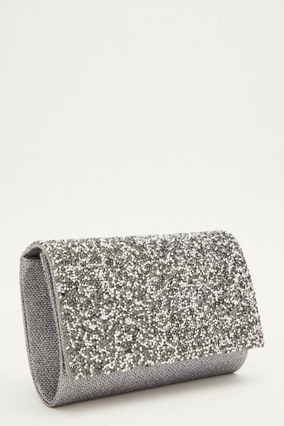 Grey Glitter Flap Bag